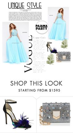 """""""Light Blue Sherri Hill 50454 Halter Prom Dress"""" by chrissybarby ❤ liked on Polyvore featuring Jimmy Choo and Pier 1 Imports"""