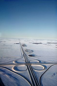Prairie Winter Highway by Paul Galipeau. This is the view I have when I leave WINNIPEG, MANITOBA airport in February/March for my holiday with my sister in Mexico - it's always nice to see how the snow gives way to green spaces the further south we fly. Rocky Mountains, British Columbia, Province Du Canada, Vancouver, Canada Eh, Birds Eye View, Aerial Photography, Winter Scenes, Canada Travel