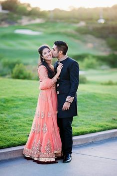 A cute and classy Indian couple on their wedding day. The peach sari is gorgeous! Pre Wedding Photoshoot, Wedding Poses, Wedding Attire, Wedding Couples, Outfit Photoshoot, Wedding Shot, Punjabi Wedding, Desi Wedding, Wedding Bride