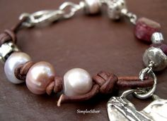 SALE  Freshwater Pearl and Leather Bracelet    by SimpleeSilver