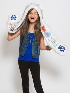 What's Your Spirit Animal?....... HUSKY -- DOODLE ................... (Faux Fur, Limited Edition) ....... Traits: Brave > Athletic > Adventurous ................................ Get CREATIVE & DESIGN LINERS! Comes with 1 pack of 8 Cra-Z-Art WASHABLE MARKERS ............ More about the #Husky #Spirit #Animal at: $39 #Gifts #Fashion #SpiritHood #SpiritHoods #Girls #Kids #Cra-Z-Art #Washable #Markers #Art #Hoodie #FauxFur #Paws #Scarf