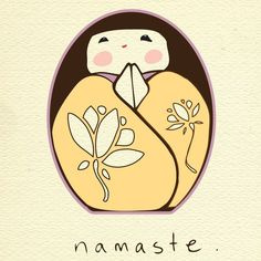 namaste kokeshi thank you print by mirabel on Etsy Partner Yoga, 7 Chakras, Yoga Art, Yoga Meditation, Namaste Yoga, Kundalini Yoga, Heart Chakra, Painted Rocks, Illustration Art