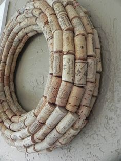 DIY Cork Wreath and put a mirror in the middle!
