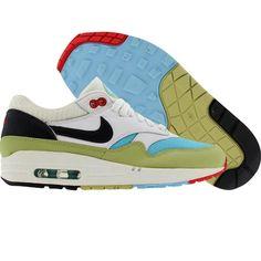 Nike Womens Air Max 1 (white / dark obsidian / lawn / comet red) 319986-142 - $89.99