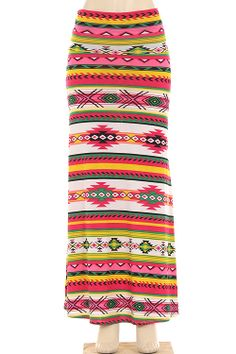 Tribal Pink/Orange Maxi Skirt | $23.00 | Order at www.jupeinc.com