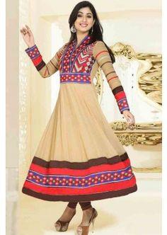 couleur beige georgette Anarkali costume, - 101,00 €, #Robeindienne #Robepakistanaisepascher #Robepakistanaise #Shopkund