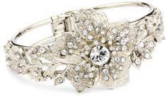 1928 Bridal Silver Tone Vintage-Inspired Floral Cuff Bracelet $84.88
