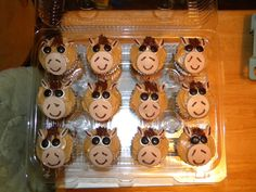 The horse cupcakes I made to go with the horse cake.  Chocolate cake, peanut butter frosting.
