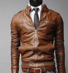 Gender: Men Outerwear Type: Leather & Suede Clothing Length: Regular Cuff Style: Conventional Closure Type: Zipper Hooded: No Collar: Mandarin Collar Sleeve Length: Full Color Style: Solid Decoration: