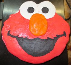 Elmo Cake!  Make any Shape. character/ drawing you want with this technique!