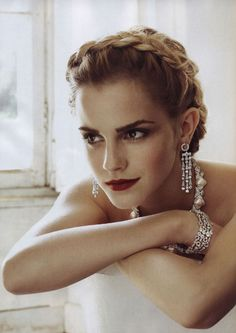 Emma Watson. My all time fave pic of her. I saved this for months as my inspiration for the hair-do I wore for my sister's wedding.