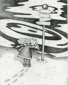 """""""At the cross roads"""" for an article in the Park Slope Reader  pencil and ink by Carolyn Watson Dubisch"""