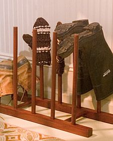 martha stewart craft- build a boot rack.