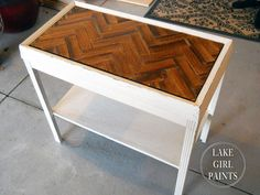 turn lath wood into chevron pattern on table, diy, painted furniture, woodworking projects