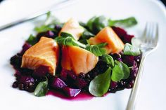 A wonderful dish combining salmon, lentils and beetroot - dressed with a red wine reduction and served on a bed of watercress.