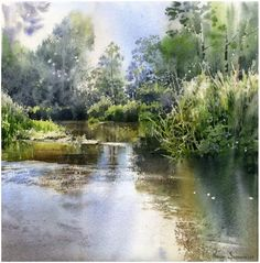 By Michal Suffczynski, Poland Watercolor Water, Watercolor Landscape Paintings, Watercolor Trees, Watercolor Artists, Watercolor Techniques, Watercolor Illustration, Watercolour Painting, Landscape Art, Watercolours