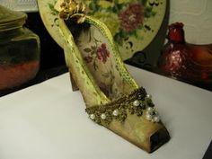 Vintage Gold Brocade paper shoe...PlumCat Art