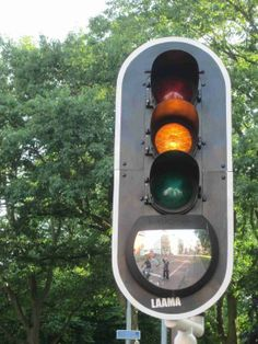 Traffic light equipped with a mirror, so truck drivers can see if there are bikes beside them. Haarlem, Netherlands. Click image for details & visit our popular Streets for Everyone board >> http://www.pinterest.com/slowottawa/streets-for-everyone/