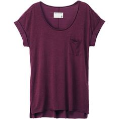 The Pocket Tee (140 CAD) ❤ liked on Polyvore featuring tops, t-shirts, shirts, tees, women, cotton tee, purple tee, short sleeve t shirts, short sleeve pocket t shirts and purple t shirt
