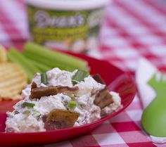 Dean's Dip Loaded Baked Potato Salad. Leftover campfire baked potatoes from last night's feast? No problem. You'll be making extras from now on, just so you have enough to make this salad, too. It's delicious and simple if you have Dean's French Onion Dip in the cooler.