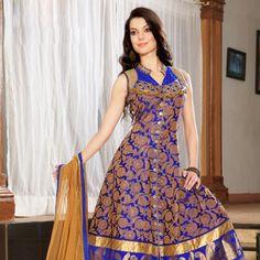 Blue Banarasi Jacquard Readymade Anarkali Churidar Kameez