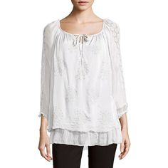 LE MARAIS Silk Lace Shoulder Blouse ($50) ❤ liked on Polyvore featuring tops, blouses, white eyelet blouse, lace top, white top, long sleeve lace blouse and white lace top