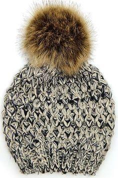 Faux Fur Pom Pom Knit Beanie Hat - Grey