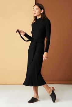 The Joan Dress in Black Whimsy + Row FW'17 Eco-Friendly Clothing. Ethical brand, sustainably made in LA. Sustainable fabrics, sustainable fashion. Made in USA. Black dress. Ribbed dress. Ribbed knit dress. Nisolo. Nisolo shoes. Fall fashion