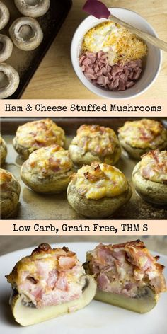 Ham & Cheese Stuffed Mushrooms - Low Carb, Grain Free, THM S - If you are looking for an easy, impressive, five ingredient appetizer or side dish you've come to the right place! These Ham & Cheese Stuffed Mushrooms have about a 5 minute prep time but are