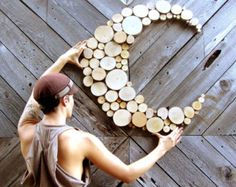 Custom Abstract Moon Wood sculpture Tree slice sculpture Rustic Wood Wall art Wall hanging circle art wood slices home decor celestial