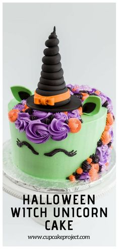 Halloween / The tutorial focuses on which colors and tools to use to get the unicorn look once you already have a frosted cake, with an emphasis on how to create the witch unicorn horn. The horn is a fun idea that you could use on cupcakes as well! Halloween Desserts, Bolo Halloween, Unicorn Halloween, Halloween Treats, Halloween Cupcakes, Halloween Cake Decorations, Holloween Cake, Halloween Party, Halloween Birthday Cakes