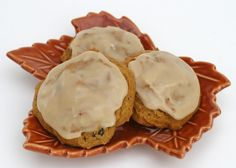 Pumpkin Cookies with Maple Icing - I would leave out the raisin, but that's just me.