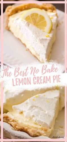This No Bake Lemon Cream Pie Recipe is made with a golden Oreo crust (or a vanilla wafer crust), a creamy no bake lemon filling, and whipped cream. It's my favorite creamy lemon pie with a cookie crust! Lime Desserts, Blueberry Desserts, Easy No Bake Desserts, Dessert Recipes, Summer Desserts, Lemon Cream Pies, Citrus Recipes, Cream Pie Recipes, Oreo Crust