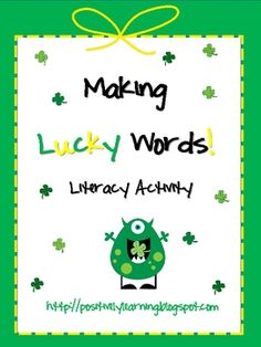 Making words with St. Patrick's Day theme! This week I'm using the lower-level with my 1st graders & higher-level with 2nd.