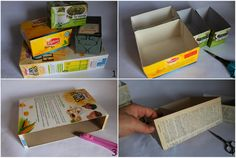 What can you do with tea and cornaflakes? Beside a nice breakfast, of course? Upcycle the cardstock boxes to create:  Cosa si può fare con t...