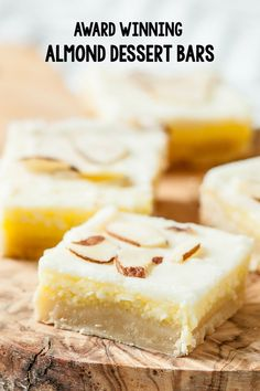 Award Winning Almond Dessert Bars - Chew Out Loud - - These unbelievably delicious almond dessert bars are so good, they won a place at a local baking contest. The baker of these bars was kind enough to share the recipe with us. Paleo Dessert, Dessert Bars, Dessert Recipes, Bar Recipes, Drink Recipes, Chewy Blondies Recipe, Easy Desserts, Delicious Desserts, Holiday Desserts