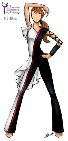 la manga es bonita Costume for active fun Fashion Illustration Sketches, Fashion Sketches, Dance Outfits, Dance Dresses, Color Guard Costumes, Creative Costuming Designs, Colour Guard, Color Guard Uniforms, Dance Uniforms