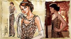 Michelle Dockery/ Lady Mary Crawley, Downton Abbey,1920s fashion: Fashion Illustration - videos available of the artist's process