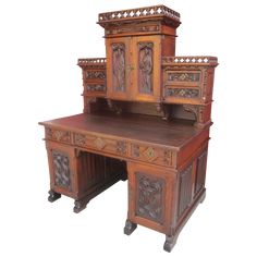 French Antique Gothic Desk! All Original Finish and Hardware, Complete with All Drawers, (Including Secret) and Keys. This is a Stunning Piece Dated