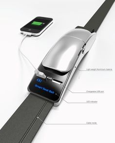 A seatbelt with USB chargers built-in - perfect for public transportation and on the go charging. #charger #YankoDesign