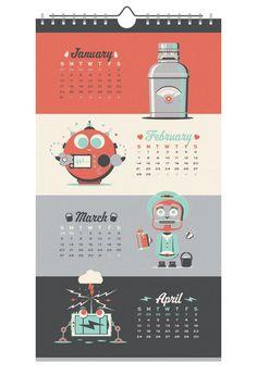 2016 Robot Wall Calendar