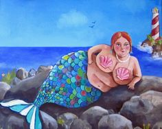 BBW mermaid giclee print on watercolor paper 8x10 by DarlingRomeo, $17.00