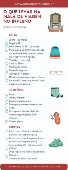 What to pack in the winter suitcase (versatile and small .- O que levar na mala de viagem no inverno (versátil e pequena) New Travel, Travel Goals, Travel Packing, Travel Style, Travel Guide, Vacation Planner, Vacation Destinations, Fort Collins, Europa Tour