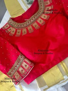 25 Dashing Red Work Blouse designs to try for your wedding - Wedandbeyond Pattu Saree Blouse Designs, Blouse Designs Silk, Bridal Blouse Designs, Blouse Patterns, Simple Blouse Designs, Stylish Blouse Design, Kurti Embroidery Design, Zardosi Embroidery, Embroidery Suits