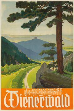 Wienerwald Vintage Poster (artist: Mitschek) Austria c. Vintage Travel Posters, Vintage Ads, Free Canvas, Stock Art, Modern Photography, Antique Maps, Illustrations And Posters, Retro Design, Fine Art