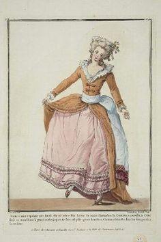 """""""Jeune Dame répétant une danse elle est vétue d'un Lévite du matin Carmelite, la Garniture pareille, le Colet frisé de mousseline à grand ourlet, jupon de soie rose pâle garni de méme, Ceinture blanche dont les franges sont de couleur"""", Gallerie des Modes, 1782; MFA 44.1546"""