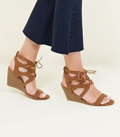 Tan Suedette Ghillie Lace Up Wedges | New Look