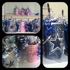 Dallas Cowboy goody bags... Inexpensive cups filled with candy, pencils, football tattoos etc...