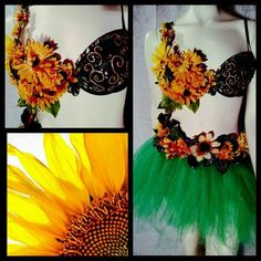 Sunflower is a bra-top, belt and tulle tutu combination. Tutu is a standard 8 inch length, please let me know if youd like a different length. Bra tops are padded and medium push up.   These outfits are about YOU! Please let me know what customization you would like so the outfit you order can truly be your Xpression!   *Please allow 2 weeks processing time for this custom order*