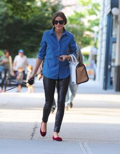 OLIVIA PALERMO - black leather pants and jeans
